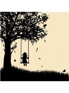 Silhouette Girl Tree Swinging AB-1704