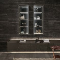 Alambra suspended cabinet with bronzo structure, clear reflective glass, grey transparent shelves, grey mirror back panel, base and top in bronzo lacquered wood
