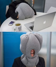 The Ostrich Pillow is perfect for napping at your desk. ~hahaaaaa, if only I could get away with this! LOL