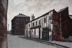 """""""Old Factory, Claypit Lane, Leeds"""" by Stuart Walton, c.1972 (oil on board)"""
