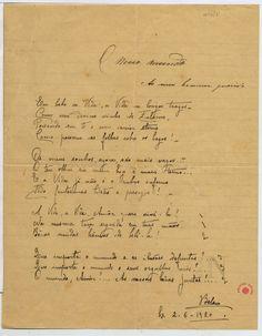"""Manuscrito do poema """"O nosso mundo"""", de Florbela Espanca (Acervo BN/Portugal)"""
