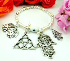 7870 pulsera de amuletos de la suerte y protección  con perlas
