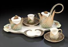 ❤ Art Nouveau - Léon Kann - Service à café - Fenouil - en Porcelaine de Sèvres (1900-1904) ❤