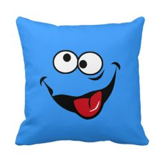 Funny smiley face cartoon blue background throw pillows