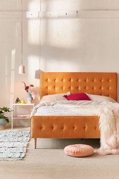 Layla Velvet Upholstered Bed Frame | Urban Outfitters