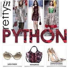 Pretty in PYTHON | Trend Alert | Must Have City Trend ... #fashion #trendfortrendcom #python #clickandpublish #trend  #instacool #trendalert #fashiontrend #catwalk #fendi #versace #gucci #pic @mahlandross @lucapagni_eyewear @gianvitorossi Fendi, Gucci, Cat Walk, Python, Must Haves, Versace, Eyewear, Street Style, City