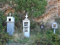 memorials in greece by the side of the road remembering those loved ones who crossed over!!!