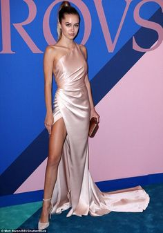Pretty: Delilah Belle Hamlin, 18, looked lovely in blush at the CFDA Fashion Awards in New...