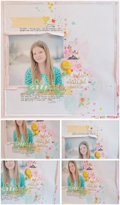 Wilna Furstenburg scrapbooking - so fun, with soft watercolors and Dear Lizzy rub-ons