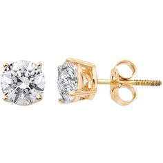 14k Gold 3/4-ct. T.W. Round-Cut IGI Certified Diamond Stud Earrings... found on Polyvore