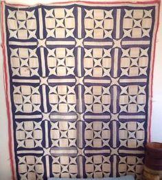 Antique Quilt Red White Blue, eBay, cjenkner53