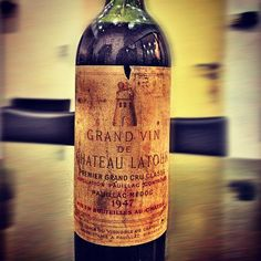 """Château Latour"""" (1947) Pauillac / Bordeaux / France. Even if it is not the best vintage of the estate, like the 2003 summer, the 1947 was very hot and harvesting was 'tropical', some winemakers produced very rich and concentrated reds Bordeaux like this château Latour which is very particular on this vintage."""