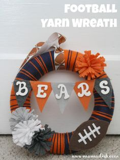 DIY football yarn wreath. doing this this weekend in green bay deco!