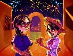 "purpleorange: ""smol Imelda&Hector X) "" Disney Pixar, Disney Fan Art, Disney And Dreamworks, Disney Cartoons, Disney Animation, Walt Disney, Pixar Quotes, Disney Animated Movies, Disney Crossovers"