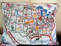 Organized Clutter: Vintage USA Map Pillow