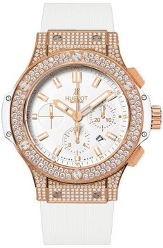 Big Bang Gold White Dial Chronograph Diamond Men's Watch