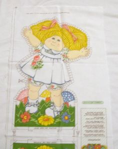 Cut Sew and Stuff Doll Fabric Panel, Cabbage Patch Kids, Vintage Doll Pillow, Blonde Doll by VintagePlusCrafts on Etsy