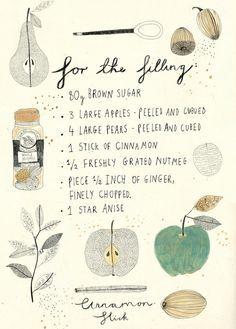 Illustration by Katt Frank Food Illustrations, Illustration Art, Doodle Drawing, Sketch Note, Cookbook Design, Motif Floral, Kitchen Art, Food Art, Illustrators