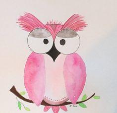 Nursery art, owl watercolor girl nursery painting, pink whimsical art, Child's room art, not a print. nursery art