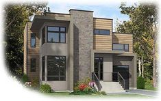 Narrow Lot Contemporary Home Plan - 90237PD | 2nd Floor Master Suite, Bonus Room, CAD Available, Canadian, Contemporary, Metric, PDF | Architectural Designs