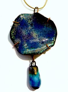 Blue Green Necklace by Bellmore Arts Green Necklace, Pendant Necklace, Jewelry Art, Unique Jewelry, Precious Metal Clay, Sterling Silver Chains, Precious Metals, Gift Tags, Blue Green