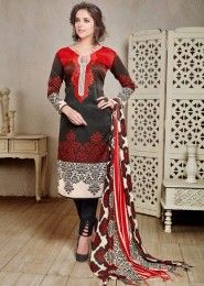 Casual Wear  Red Pashmina Embroidered Work Straight Suit