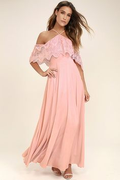 Lulus Exclusive! The Unmatched Beauty Blush Pink Lace Off-the-Shoulder Dress is becoming an international phenomenon! A crochet lace off-the-shoulder flounce bodice falls from a halter neckline that ties through a loop at back. Fitted waist tops a full, woven maxi skirt. Hidden side zipper/clasp.
