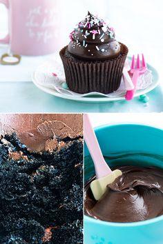 Dark & Dreamy Chocolate Fudge Cupcakes via Sweetapolita