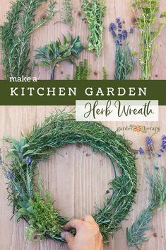 Make a Gorgeous Culinary Herb Wreath - Hang an herb wreath in your kitchen and harvest sprigs here and there to add to your cooking. The herbs will dry on the wreath form looking beautiful and preserving the flavor while releasing fragrance throughout th Herb Garden In Kitchen, Kitchen Herbs, Harvest Kitchen, Farmhouse Garden, Hanging Herbs, Hanging Gardens, Hanging Planters, Wreath Forms, Garden Signs