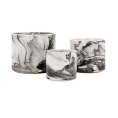 "Imax Set of 3 Decorative ""Kai"" Black Faux Marbled Ceramic Planters, Gray #32585577, Outdoor Décor"