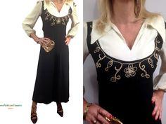 Anni 70 tuta bianca nera, outfit elegante per occasione. Maxi vestito stile Valentino, sartoria italiana, taglia 40-42.Pagliaccetto elegante di nonaprirequellarmadi su Etsy