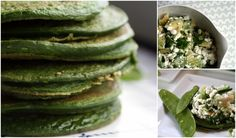 spinach basil pancakes with avocado and cottage cheese topping.