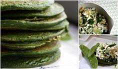 Grøn proteinrig frokost med spinat-pandekager og hytteost-salat - smager godt med laks til :-)