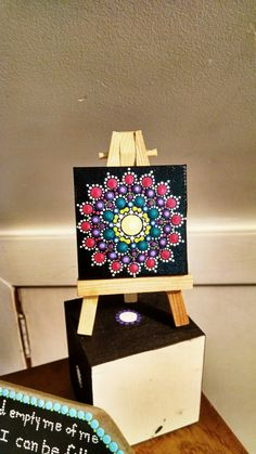 Colorful Original Mini Painting Canvas~ Turquoise, Purple & Pink Mandala Dot Art by P4MirandaPitrone on Etsy
