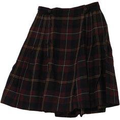 1980's Skirt (Rena Rowan): 80s -Rena Rowan- Womens wine, white, gold... (120 CNY) ❤ liked on Polyvore featuring skirts, bottoms, plaid, dresses, knee length skirts, black plaid skirt, black white skirt, gold skirt and wool plaid skirt