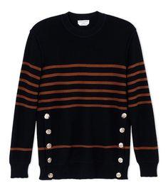 Sonia Rykiel Black Multi-Striped Wool-Blend Sweater