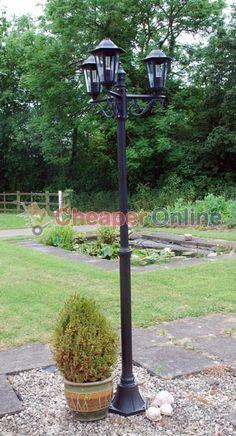 2m Tall Outdoor 3 (Triple) Head Victorian Garden Lamp Post In Black | EBay