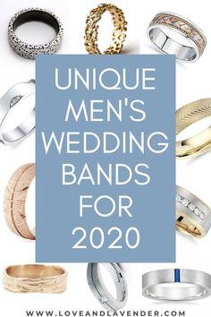 Unique Men's Wedding Bands for 2020 Wedding Men, Wedding Blog, Wedding Bands, Honeymoon Planning, Wedding Planning, Bridal Ring Sets, Classic Gold, Unique Rings, Unique Weddings