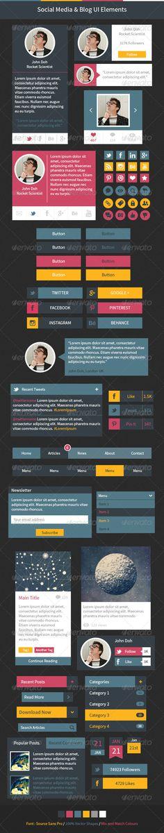 Social Media & Blog UI Elements