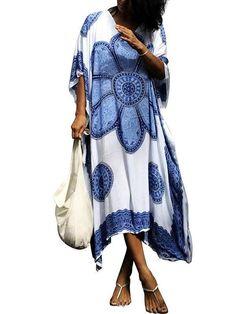 57387891b6c Printed Loose Kaftan Cover-up Dress