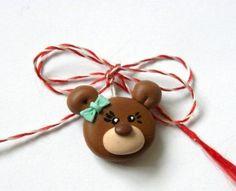 martisor din fimo - ursulet Polymer Clay Animals, Rakhi, Diy And Crafts, Clip Art, Christmas Ornaments, Holiday Decor, Spring, Cards, Handmade