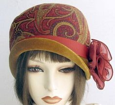 Heavy Textured Fabric Hat in Vintage 1920s  Art Nouveau Style