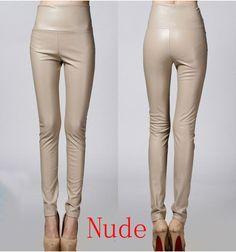 2016 Thicken Winter PU Leather women pants high waist elastic fleece stretch Slim woman pencil pants skinny trousers 25 colors