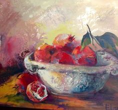 Sement beauty Food Painting, Flower Art, Still Life, Berries, Art Gallery, Pomegranates, Paintings, My Favorite Things, Galleries