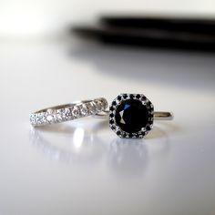 Black Onyx Halo Ring. Black Diamond Engagement Ring. Black Onyx Ring. Black Diamond ring. Anniversaey Gift. Black Ring. 14K/18K Solid Gold by Juttou on Etsy https://www.etsy.com/listing/463960286/black-onyx-halo-ring-black-diamond