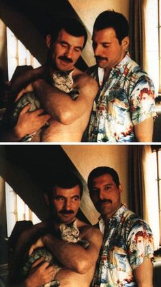 "bohemea: "" Freddie Mercury with his partner Jim Hutton & one of Freddie's cats Dorothy. That's right, Freddie Mercury had a cat named Dorothy. "" I love Freddie Mercury and his adorable love. Jim Hutton Freddie Mercury, Queen Freddie Mercury, Freddie Mercury Quotes, Freddie Mercury Partner, Adam Lambert, Charlie Brown, Rami Malek, Killer Queen, Queen Banda"