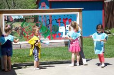 Old window turned into a wonderful outdoor canvas! — at Bambini Creativi an Early Learning Educational Project. ≈≈ http://pinterest.com/kinderooacademy/preschool-outdoor-play-environments/