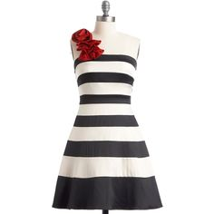 ModCloth Mid-length One Shoulder A-line When You Can Dance Dress (3,890 INR) ❤ liked on Polyvore featuring dresses, vestidos, stripes, modcloth, black, apparel, varies, one shoulder ruffle dress, one shoulder evening dresses and a line cocktail dress