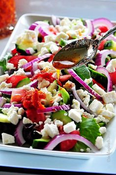 Mediterranean Salad makes a delicious recipe for a light meal or as a side dish when entertaining. Get this easy, elegant Mediterranean Salad recipe.
