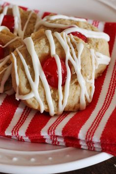 Cherry Almond Cream Cheese Cookies - Perfect for a Christmas cookie tray!